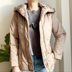 Zara Gold Puffer Hooded Jacket Cropped S